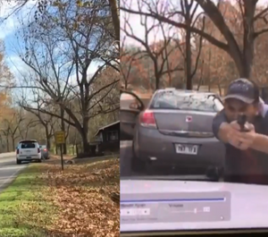 Dashcam footage shows the suspect leaving his vehicle and firing a gun at the officer.