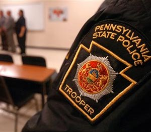 A patch worn by Pennsylvania State Police Captain Tim Shannon on Saturday, Sept. 13, 2014 in Blooming Grove Township, Pa. (AP / The Scranton Times-Tribune, Butch Comegys Image)