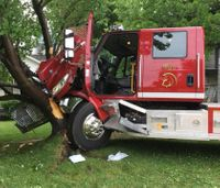 Kan. firefighter crashes fire truck into tree after passing out