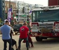 Texas fire truck pull raises funds for Olympics
