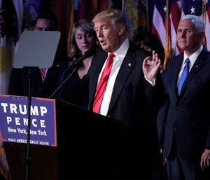 President-elect Donald Trump gives his acceptance speech during his election night rally in New York. (AP Photo/Julie Jacobson)