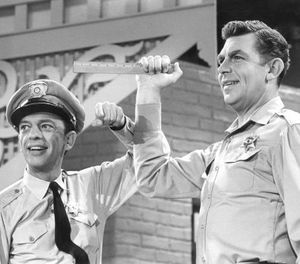Publicity photo of Andy Griffith and Don Knotts from a Jim Nabors television special. (Photo/CBS Television)