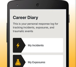 The NFORS Exposure Tracker app is available on the App Store and the Google Play store, and encrypts all data provided. (Photo/ National Fire Operations Reporting System)
