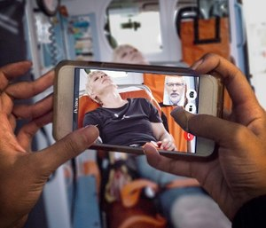 Telemedicine can help bring the receiving physician to the patient's bedside for stroke consults, injury evaluations and more – whether at home, in the ambulance or even at the site of a car crash. (image/Pulsara)