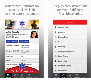 The Vital ICE app is available for use on smartphones via the code 1050. ICE stands for In Case of Emergency. (Photo/App Store)