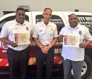 Darren Ware (left), Fire Chief Marc Bashoor and Lt. Col. Tyrone Wells. (Photo PGFD PIO)
