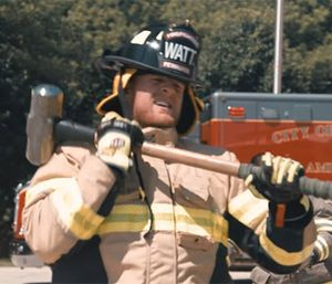 JJ Watt pays a visit to his hometown fire department. (Photo/YouTube screengrab)