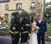 Firefighters save 'bride, groom and cake' after wedding reception fire