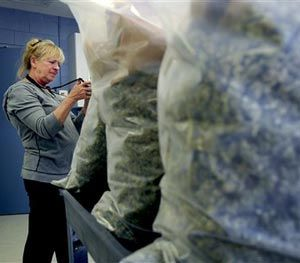 This March 14, 2013 photo shows Rocky Mountain Miracles dispensery owner Alvilda Hillery taking photos of the 36 pounds of medical marijuana that were seized from her shop, along with 600 plants, during a raid. (AP Image)