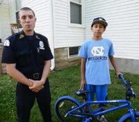 Officers surprise boy with new bike after his was stolen