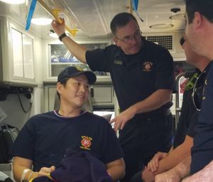 William An being released from the hospital after he was shot twice while on duty. (Photo/Dallas Fire-Rescue via Twitter)