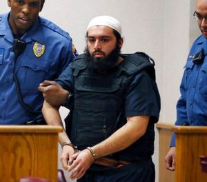 In this Dec. 20, 2016, file photo, Ahmad Khan Rahimi, center, is led into court in Elizabeth, N.J. Rahimi, who set off small bombs on a New York City street and at a charity race in New Jersey, is set to be sentenced to a mandatory term of life in prison. (AP Photo/Mel Evans, File)