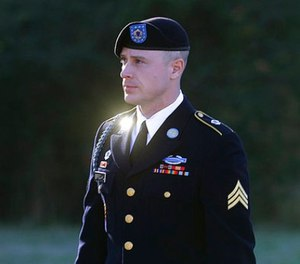 In this Jan. 12, 2016, file photo, Army Sgt. Bowe Bergdahl arrives for a pretrial hearing at Fort Bragg, N.C. (AP Photo/Ted Richardson, File)