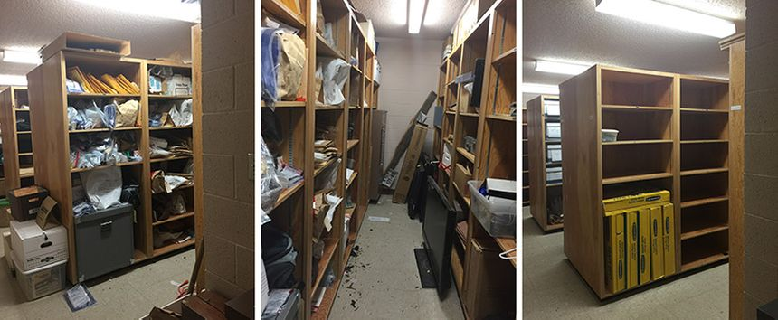 CAPTION: These images of a police property room before and after a purge illustrate the potential benefits of using evidence management software like QueTel. (images/Gayla Robison)