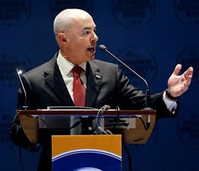 Alejandro Mayorkas, Deputy Secretary of the Department of Homeland Security, speaks at the opening of the 8th annual Border Security Expo, Tuesday, March 18, 2014, in Phoenix. (AP Image)