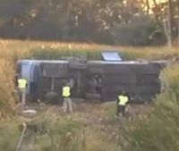 Bus overturns in southwest Ohio, 35 injured