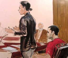 In this Oct. 25, 2012, file courtroom drawing, Federal Defender Julie Gatto requests bail for her client, New York City Police Officer Gilberto Valle. (AP Image)