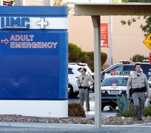 Las Vegas police work on the scene of an officer-involved shooting at University Medical Center on Monday, Sept. 25, 2017, in Las Vegas. (Bizuayehu Tesfaye/Las Vegas Review-Journal via AP)