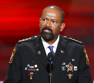 In this July 18, 2016, file photo, David Clarke, Sheriff of Milwaukee County, Wis., speaks during the opening day of the Republican National Convention in Cleveland. (AP Photo/J. Scott Applewhite, File)