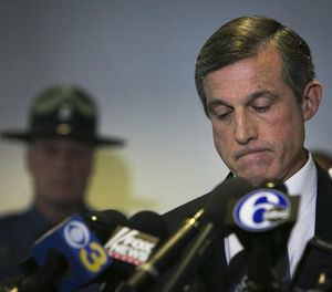 Gov. John Carney speaks at a news conference, on the loss of one of the prison guard at Vaughn Correctional Center during the hostage situation, Thursday, Feb. 2, 2017 in Smyrna, Del. (Suchat Pederson/The Wilmington News-Journal via AP)