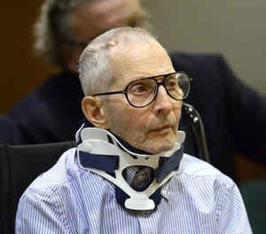In this Nov. 7, 2016, file pool photo, real estate heir and documentary star Robert Durst sits during his arraignment at the Airport Branch Courthouse in Los Angeles. (AP Photo/Reuters, Kevork Djansezian, Pool, File)