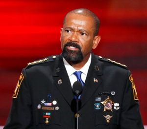 In this July 18, 2016, file photo, Milwaukee County, Wis. Sheriff David Clarke speaks at the Republican National Convention in Cleveland. (AP Photo/J. Scott Applewhite, File)