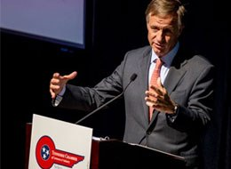 In this March 25, 2014, file photo, Tennessee Gov. Bill Haslam speaks at a luncheon in Nashville, Tenn. (AP Image)