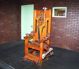 In this April 5, 2017 photo, an exhibit at the Texas Prison Museum shows the old Texas electric chair used to execute hundred of Texas inmates in Huntsville, Texas, from 1924 through 1964. (AP Photo/Michael Graczyk)