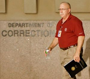 In this Aug. 19, 2010, file photo, Arizona Dept. of Corrections Director Charles Ryan arrives at a news conference at the Arizona Department of Corrections in Phoenix, Ariz. (AP Photo/Matt York, file)