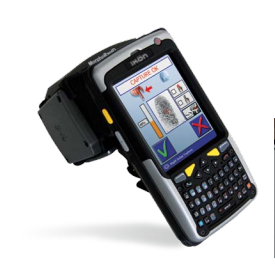 The MorphoRapID handheld biometric terminals allow police to quickly carry out ID checks in the field. (Image Courtesy of Safran Morpho)