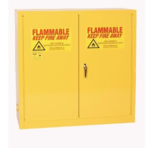 The most common way be compliant when storing flammable liquids is using an approved flammable liquids storage cabinet. (Image  Durham Manufacturing)