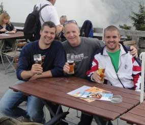 Sean, Jim, and Brian Glennon on Hitler's back porch at Eagle's Nest (The Kehlsteinhaus) near Berchtesgaden, Germany.