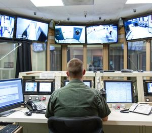 A corrections officer monitors security video feeds at the Clark County Jail. (Photo/Clark County Sheriff's Office)