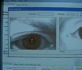Technology from BI2 snaps a photo of the iris and searches a database for a match. It also has the ability to recognize faces (BI2 Photo).