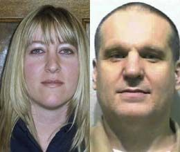 Jayme Biendl, left, was found dead at the chapel of the Monroe Correctional Complex on Saturday night. Inmate Byron Scherf was suspected of strangling her with a microphone chord in an escape attempt. (AP photo)