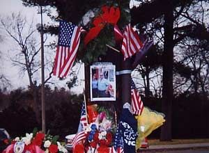 A memorial for Josh was established at the site of the ambulance crash. (Photo/Jim Love)