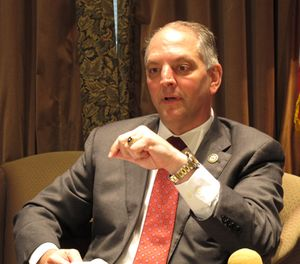 Gov. John Bel Edwards speaks to reporters about the ongoing legislative session, Thursday, April 7, 2016, in Baton Rouge, La. (AP Photo/Melinda Deslatte)