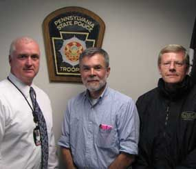 Pictured are (left) Major John W. Laufer, Director, Bureau of Training & Education, Pennsylvania State Police; (center) Dr. Darby Hand, State Police Medical Officer; (right) Dr. Michael Asken, State Police Psychologist.