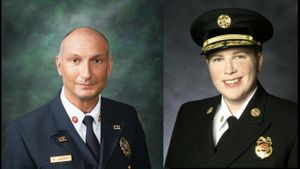 Glen Echo Fire Department Chief Herbert Leusch and San Francisco Fire Department Chief Joanne Hayes-White are the 2018 Fire Chief of the Year honorees. (Photo/IAFC)