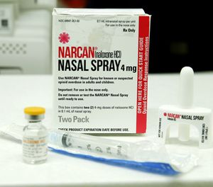Injectable and nasal forms of Naloxone, which can be used to block the potentially fatal effects of an opioid overdose, are shown Friday, Oct. 7, 2016, at an outpatient pharmacy at the University of Washington. (AP Photo/Ted S. Warren)