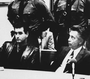 In this Nov. 3, 1986 file photo, Nicodemo Scarfo, lower right, and his nephew, Philip Leonetti, lower left, sit in court in Atlantic City, N.J., when the two were brought before a judge to hear new charges of racketeering, loansharking and gambling. (AP Photo/Pool, File)