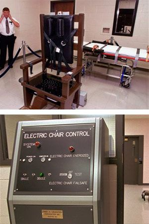 Top, Ricky Bell, warden at Riverbend Maximum Security Institution in Nashville, Tenn., gives a tour of the prison's execution chamber. Bottom,  Tennessee's electric chair and its control panel are shown in Riverbend Maximum Security Institution in Nashville, Tenn. (AP Photo/Mark Humphrey, File)