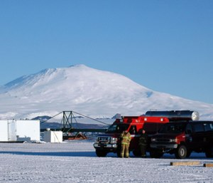 Emergency personnel stand by at Pegasus Airfield near McMurdo Station. (Photo/Peter Rejcek with the National Science Foundation)