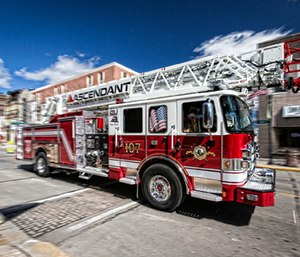The Pierce Ascendant aerial ladder's unmatched performance – and industry leading 107-foot reach in the single rear axle category – makes it the most popular new aerial apparatus in the company's history. (Photo: Pierce Manufacturing)