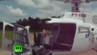 Rescue helicopter falls apart on landing