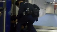 Violence erupts between police and man at airport