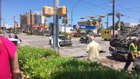 Car T-Bones and flips ambulance in intersection