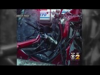 Firefighters rescue man trapped in 6-car pileup