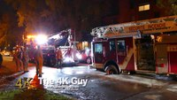 Ladder truck gets stuck as roadway collapses