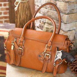 Concealed Carrie's Aged Brown Leather Satchel.